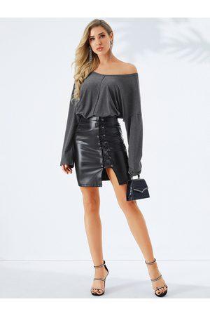 YOINS Women Long Sleeve - Grey Off The Shoulder Long Sleeves Tee