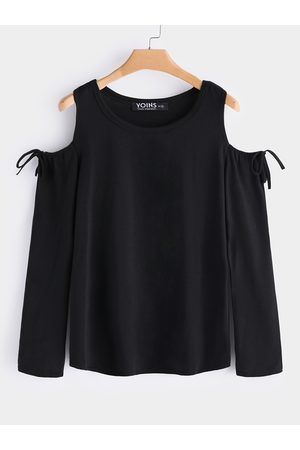 YOINS Lace-up Cold Shoulder Long Sleeves Top