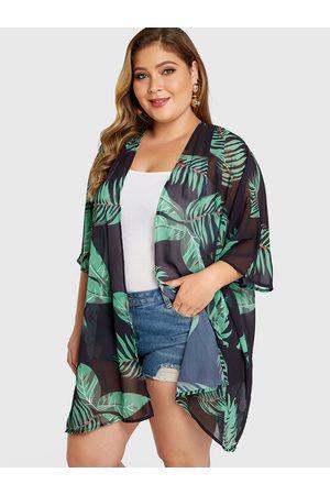 YOINS Women Kimonos - Plus Size Leaf Printed Half Sleeves Kimono