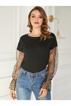 YOINS Women Sweatshirts - Black Mesh Embroidered Splice Round Neck Bell Sleeves Sweatshirt