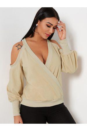 YOINS Women Long Sleeve - Crossed Front Design Plain Cold Shoulder Long Sleeves Sweatshirts