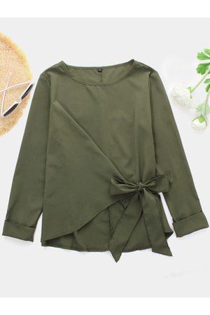 YOINS Women Blouses - Plain Bowknot Design Round Neck Long Sleeves Blouses
