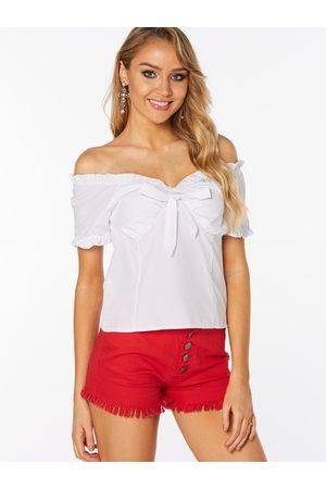 YOINS Women Short Sleeve - Lace-up Design Plain Off The Shoulder Short Sleeves Blouses