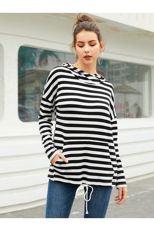 YOINS Women Long Sleeve - Black Adjustable Striped Long Sleeves Hoodie