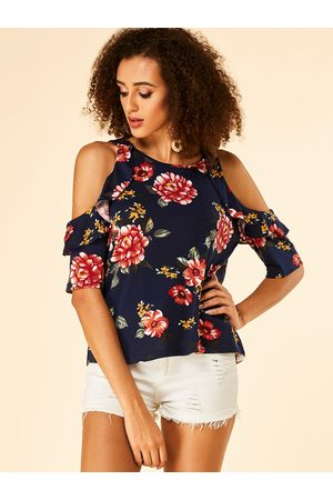 YOINS Floral Print Cold Shoulder Ruffle Trim Tee