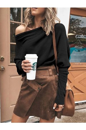 YOINS Women Long Sleeve - One Shoulder Bat Sleeves Knit Top