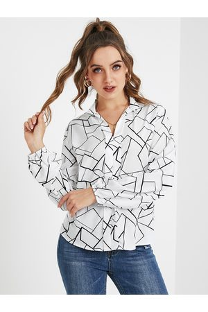 YOINS Women Blouses - White Button Design Graphic Classic Collar Long Sleeves Blouse
