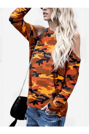 YOINS Women Long Sleeve - Red Camouflage Round Neck Cold Shoulder Long Sleeves T-shirt
