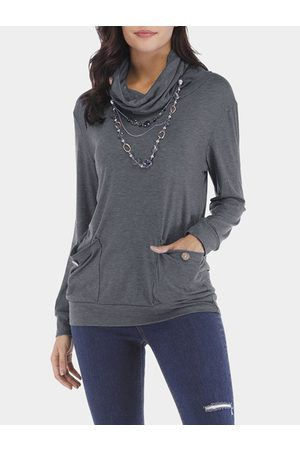 YOINS Women Blouses - Grey Drape Sagging Long Sleeves Blouses With Patch Pockets