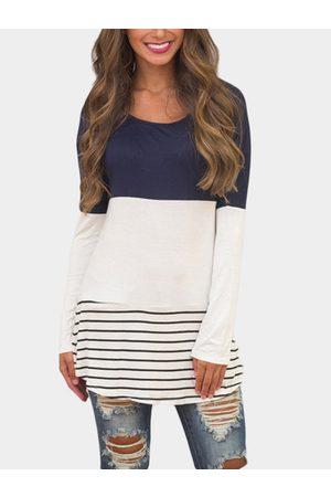 YOINS Women Long Sleeve - Lace Insert Stripe T-shirts