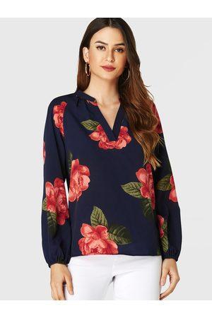 YOINS Women Blouses - Random Floral Print V-neck Long Sleeves Blouse