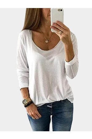 YOINS Scoop Neck Long Sleeves Semi Sheer T-shirt