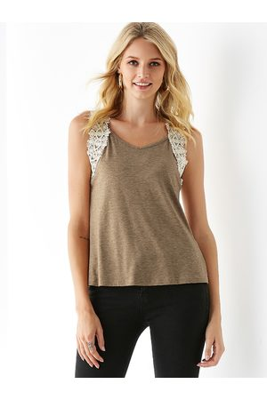 YOINS Women Tank Tops - Crochet Lace Embellished V Neck Sleeveless Top