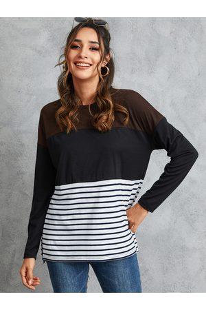 YOINS Women Long Sleeve - Multicolor Stripe Patchwork Crew Neck Long Sleeves Tee