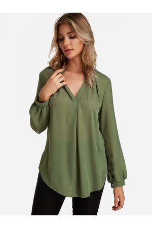 YOINS Women Blouses - Plain V-neck Button Design Long Sleeves Curve Hem Loose Shirt