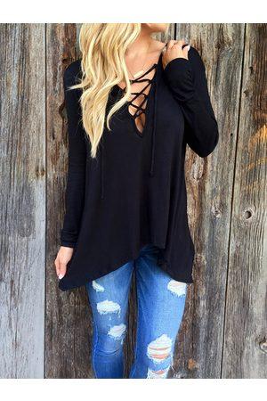 YOINS Women Long Sleeve - Criss-cross Design V-neck Long Sleeves Hoodie
