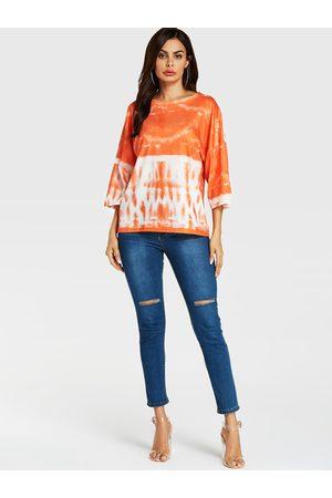 YOINS Women T-shirts - Gradual Color Round Neck 3/4 Length Sleeves Tee
