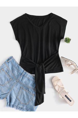 YOINS Women Short Sleeve - Tie-up Design V-neck Short Sleeves Tee