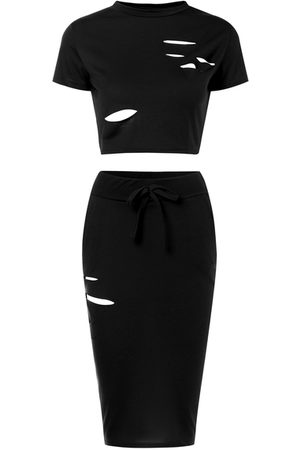 YOINS Women Crop Tops - Sexy Ripped Holes Crop Top and Skirt Two Piece Outfits