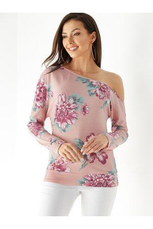 YOINS Random Floral Print One Shoulder Long Sleeves Tee
