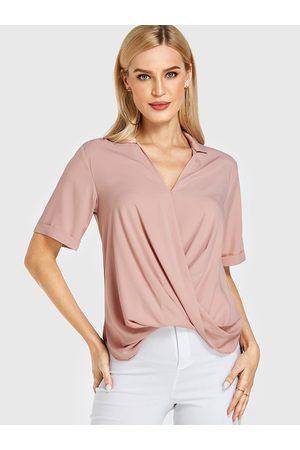 YOINS Crossed Front Design V Neck Short Sleeves Blouse