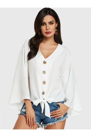 YOINS Front Button V-neck Bell Sleeves Blouse