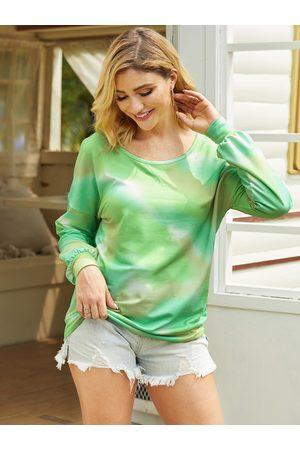 YOINS Green Tie Dye Long Sleeves Sweatshirt