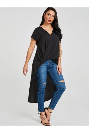 YOINS Crossed Front Design V-neck High-Low hem Blouse