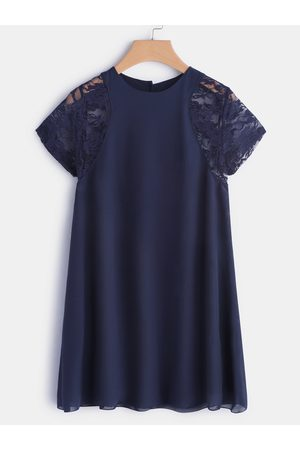 YOINS Lace Insert Round Neck Short Sleeves Chiffon Dress