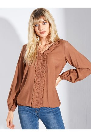 YOINS Brown Pleated V-neck Long Sleeves Blouse
