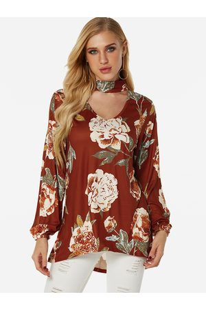 YOINS Cut Out Random Floral Print Perkins Collar Long Sleeves Blouses