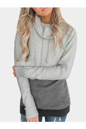 YOINS Turtleneck Long Sleeves Color Sweatshirt