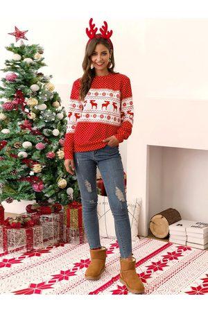 YOINS Polka Dot Christmas Graphic Knit Sweatshirt
