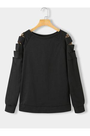 YOINS Patch Leopard Round Neck Sweatshirt