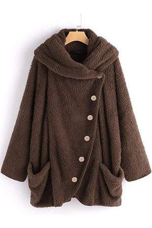 YOINS Fleece Hooded Design Front Button Long Sleeves Coat