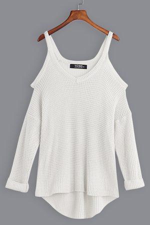 YOINS Casual Plain Cold Shoulder V Neck Long Sleeves Curve Hem Sweaters