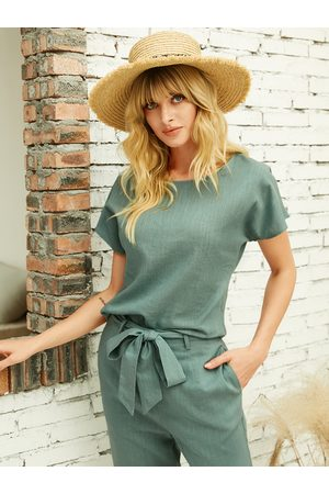 YOINS Green Lace-up Design Round Neck Short Sleeves Blouse