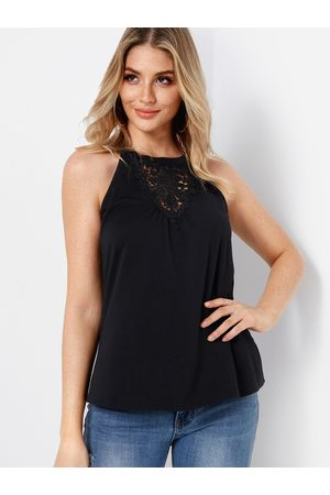 YOINS Cool Lace Insert Plain Round Neck Sleeveless Camis