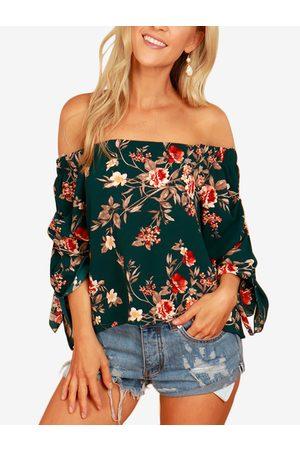 YOINS Random Floral Print Off Shoulder Self-tie at Sleeves Blouse