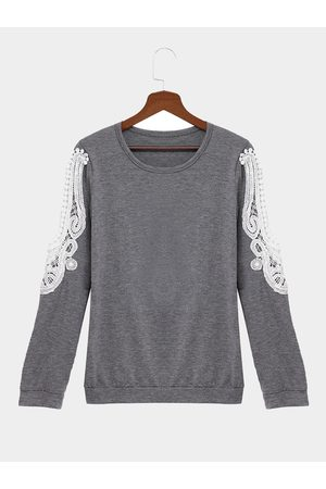 YOINS Casual Loose Fit Lace Stitching Sweatshirt