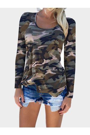 YOINS Camouflage Pattern Round Neck T-shirt