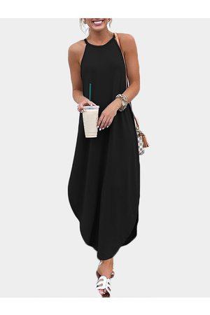 YOINS Vacation Style Loose Curved Hem Spaghetti Dress