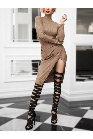 YOINS Crew Neck Knit Asymmetrical Midi Dress