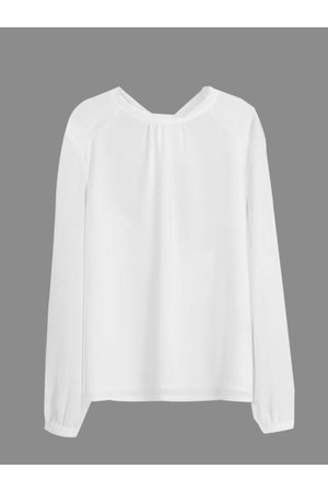 YOINS Chiffon Blouse with Open Back and Tie