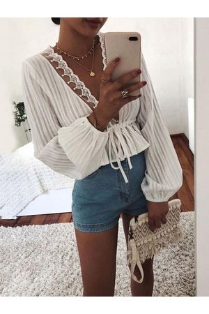 YOINS Crochet Lace Embellished Deep V Neck Blouse