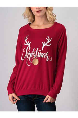 YOINS Round Neck Christmas Graphic Sweatshirt