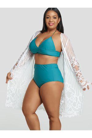 YOINS Plus Size Lace Sheer Stripe Kimono