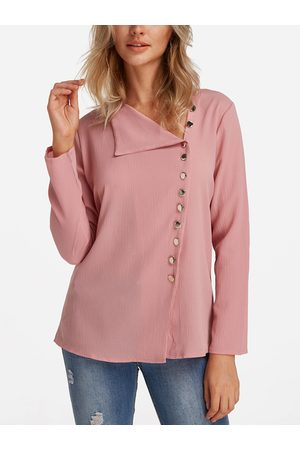 YOINS V Neck Irregular Fashion Shirt
