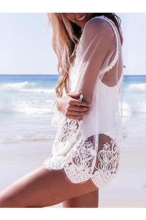 YOINS Round Neck Long Sleeves See-through Lace Blouses