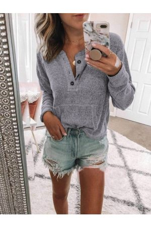 YOINS Front Button Pockets Knit Top